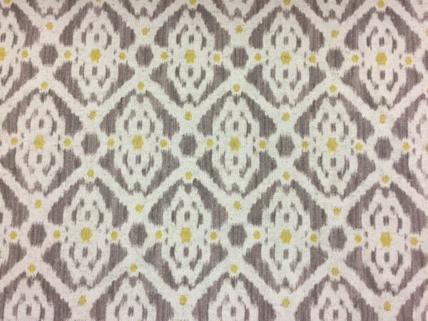 "French Petite Ikat Linen Grey//Yellow//Oatmeal 280cm//108/"" wide Curtain Fabric"
