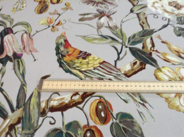 Polynesia Papaya Bird  Greys 140cm wide Curtain Craft Fabric